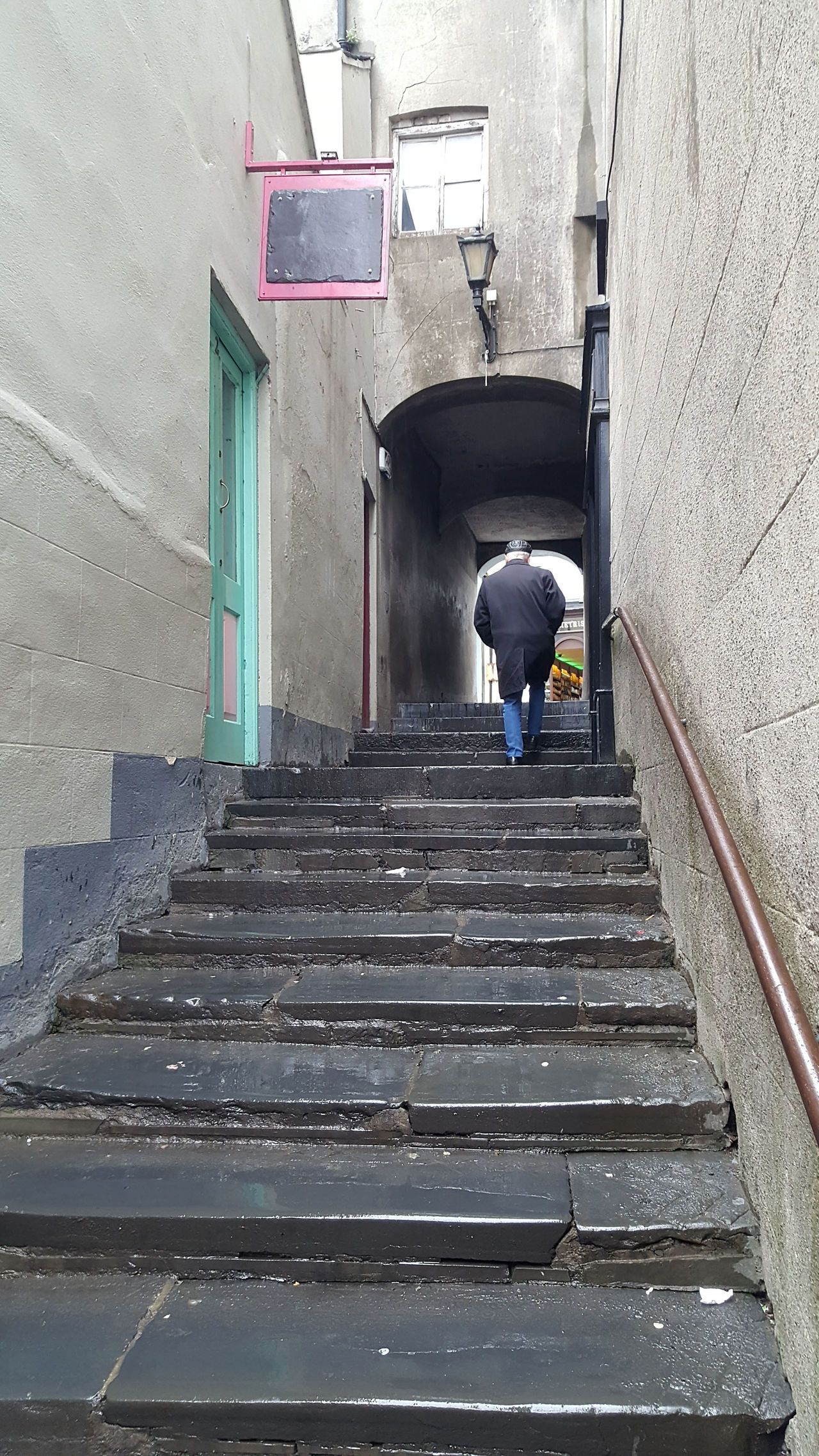Alleyway Full Length Going Up One Man Only One Person Staircase Steps Steps And Staircases Walking