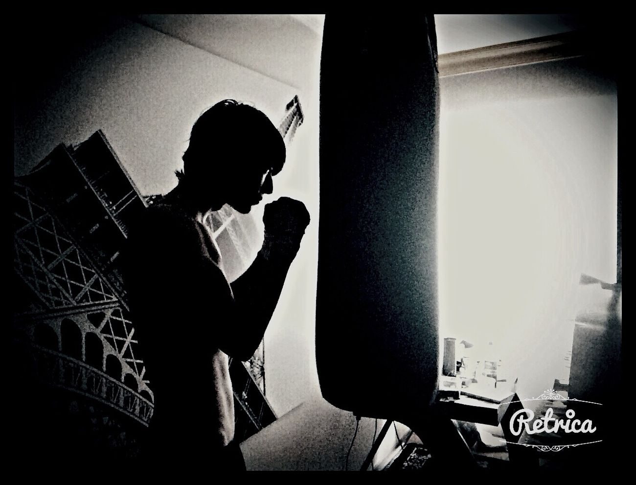 Blackandwhite Training Boxer Punchingbag Room Home Working Hard Monochrome