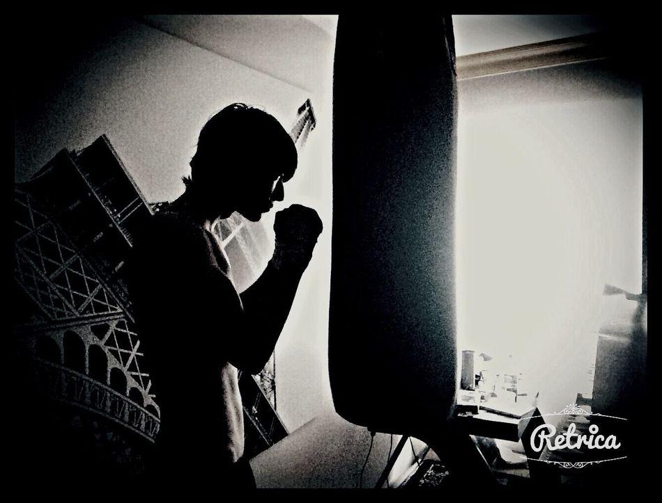 Blackandwhite Training Boxer Punchingbag Room Home Working Hard Monochrome