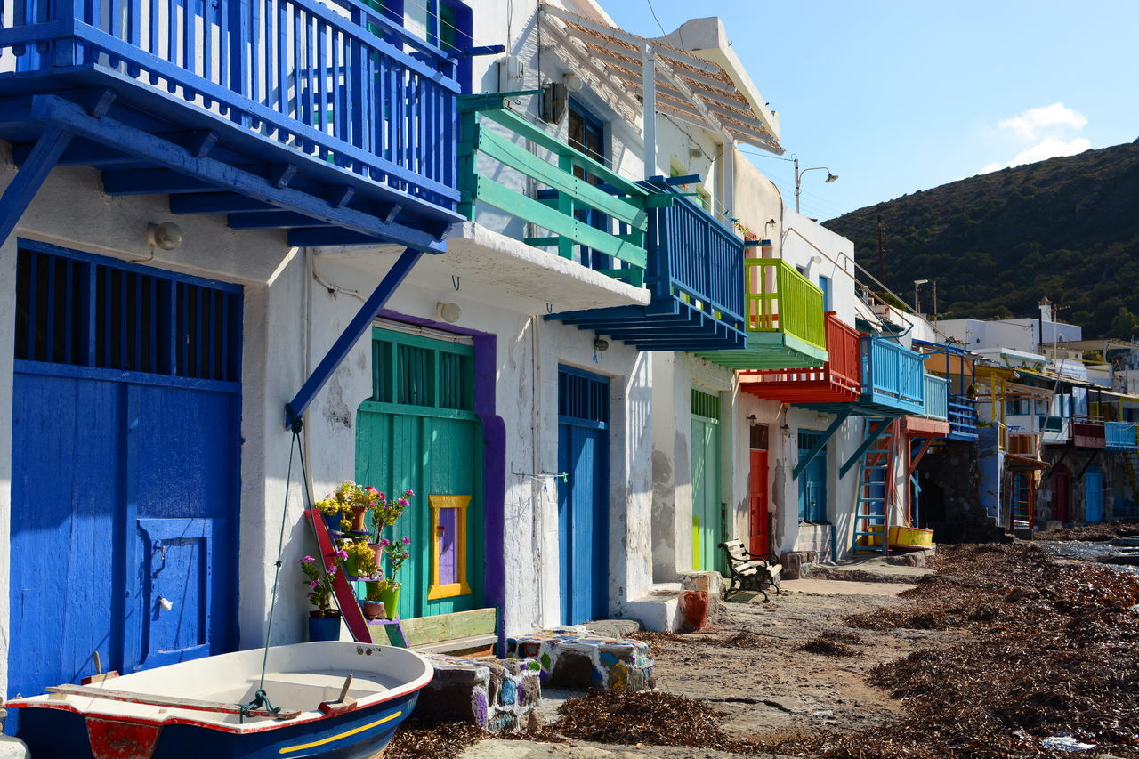 Traditional fishermen houses in Klima. Milos. Cyclades islands. Greece Aegean Aegean Islands Architecture Building Exterior Buildings Colorful Cyclades Fisherman Fishermanvillage Fishermen Fishermenvillage Greece Hellas Houses Klima Milos Milos Island Outdoors Seafront TOWNSCAPE Traditional House Travel