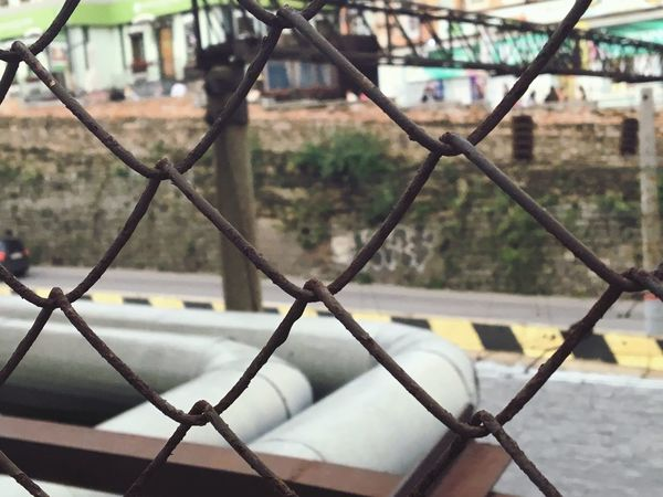 Chainlink Fence Metal Focus On Foreground Close-up City Outdoors Selective Focus
