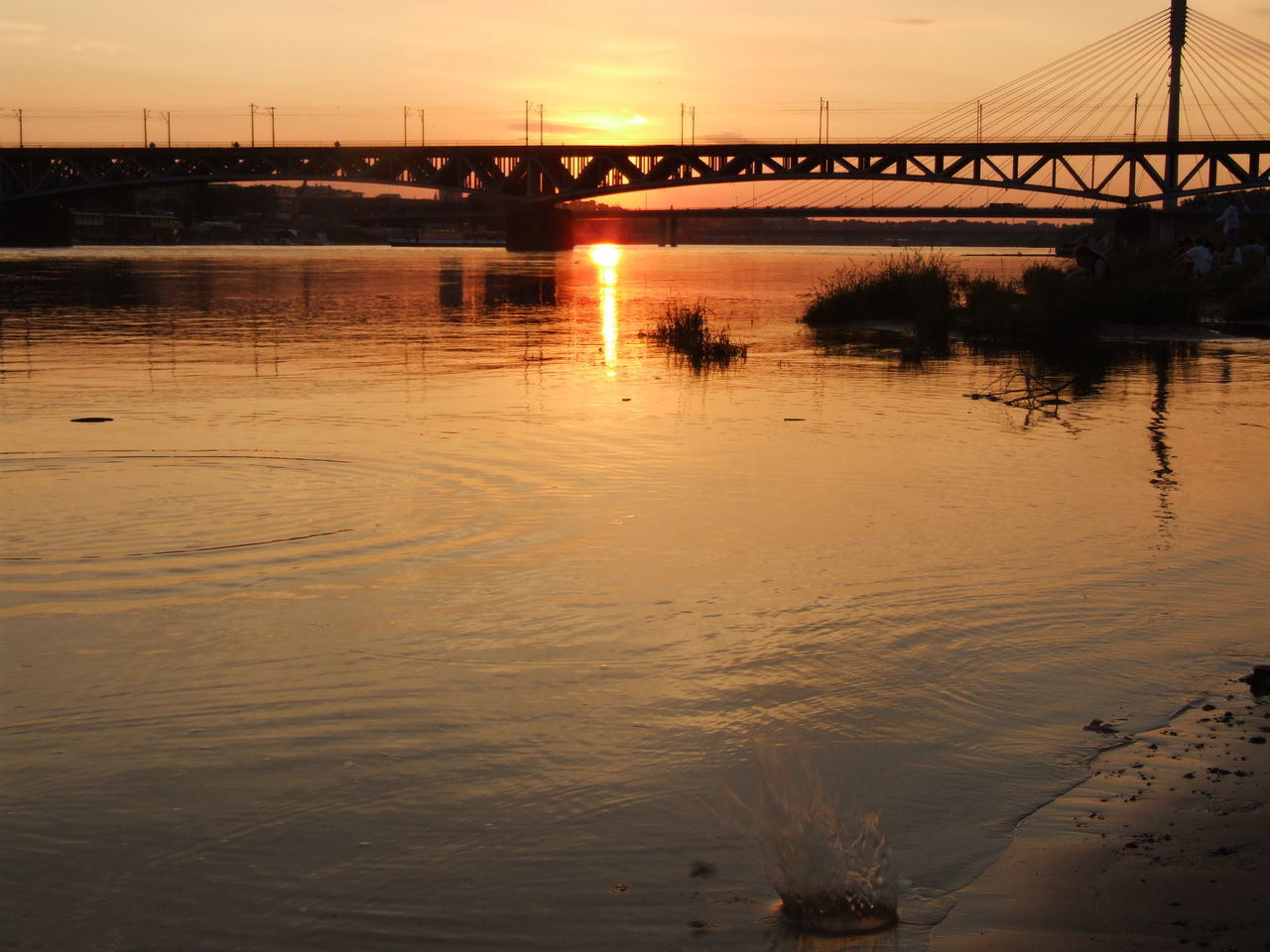 bridge - man made structure, connection, river, water, sunset, architecture, transportation, reflection, bridge, suspension bridge, built structure, outdoors, sky, nature, no people, city, day
