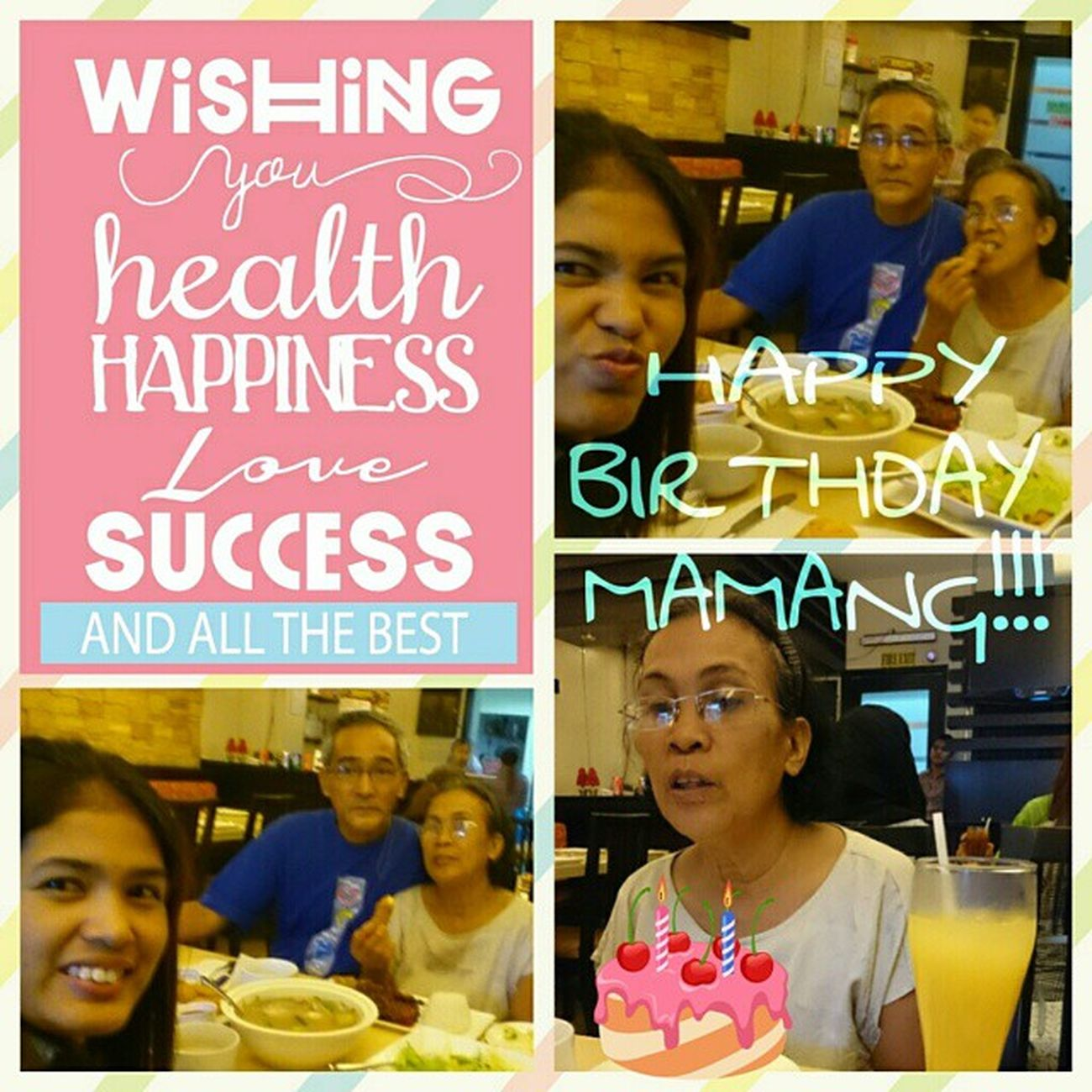 HAPPY BIRTHDAY MAMANG!!! A BIRTHDAY WISH TO THE GREAT MOM. WE LOVE YOU.- From Papang, I, and Jam. 63rd Birthdaytreat Fulltummies Gastronomía Bestmomever