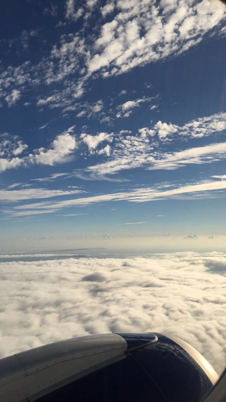airplane, transportation, cloud - sky, aerial view, sky, air vehicle, mode of transport, journey, cloudscape, beauty in nature, flying, no people, nature, scenics, airplane wing, mid-air, day, jet engine, travel, aircraft wing, sea, outdoors, vehicle part, water