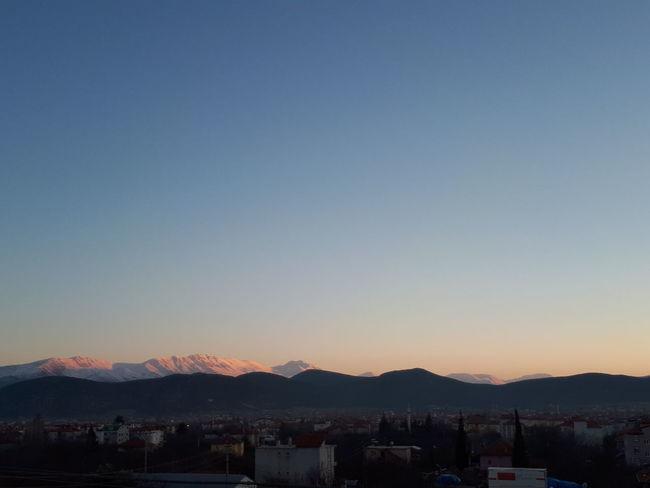 Mountain Mountain Range Snow Winter Clear Sky Sunset No People