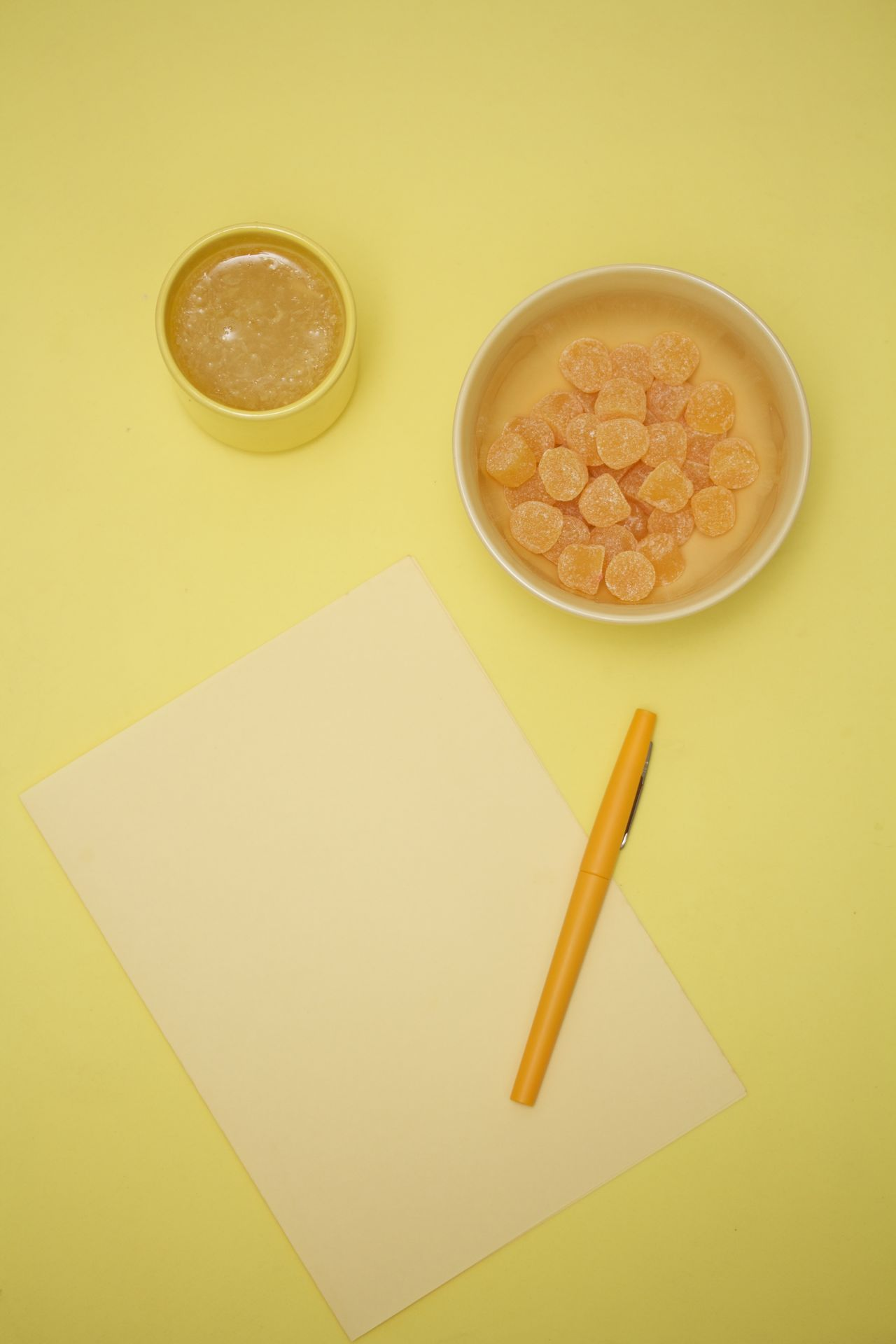 yellow desktop Colored Background Directly Above Drink Drinking Glass Food And Drink No People Orange Juice  Rubber Bullets Table Yellow Pen