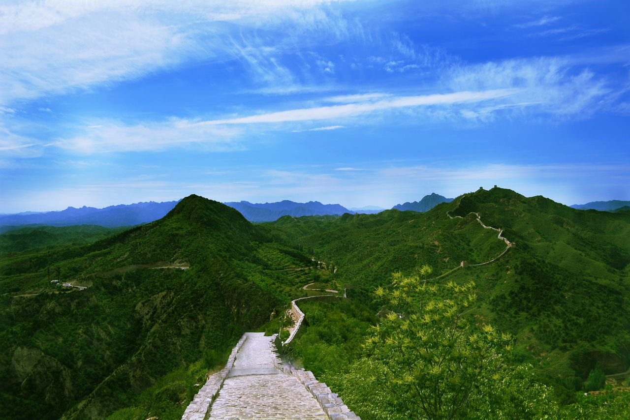Great Wall Of China On Green Mountains Against Sky