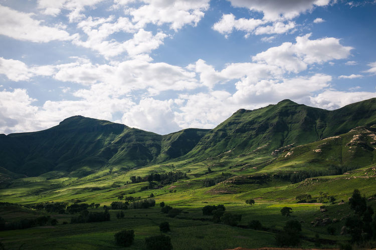 From the small mountain kingdom of Lesotho Colour Of Life Beauty In Nature Cloud - Sky Cloudy Day Gorgeous Green Color Hill Idyllic Inspiring Landscape Landscape_Collection Lesotho Mountain Range No People Outdoors Remote Rolling Safe Scenics Sky Stunning Tranquility Travel Destinations Valley