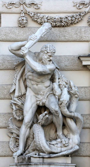 Hercules fighting the Hydra, Hofburg, Vienna in Vienna, Austria on October 10, 2014. Art Austria Fight Hercules Hofburg Hydra Marble Monument Palace Power Sculpture Statue Stone Vienna