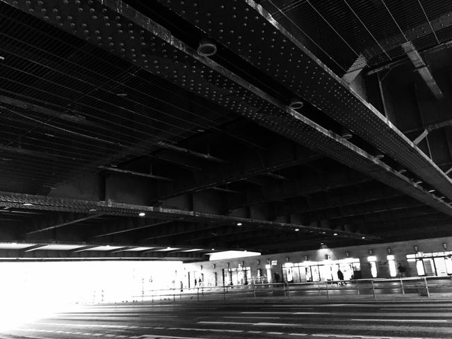 Urban Geometry Blackandwhite Bridge Steel Darkness And Light Traffic Under Bridge