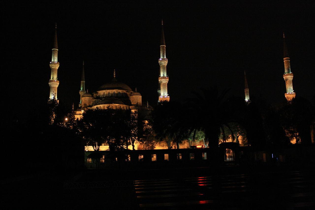 Low Angle View Of Illuminated Haghia Sophia At Night