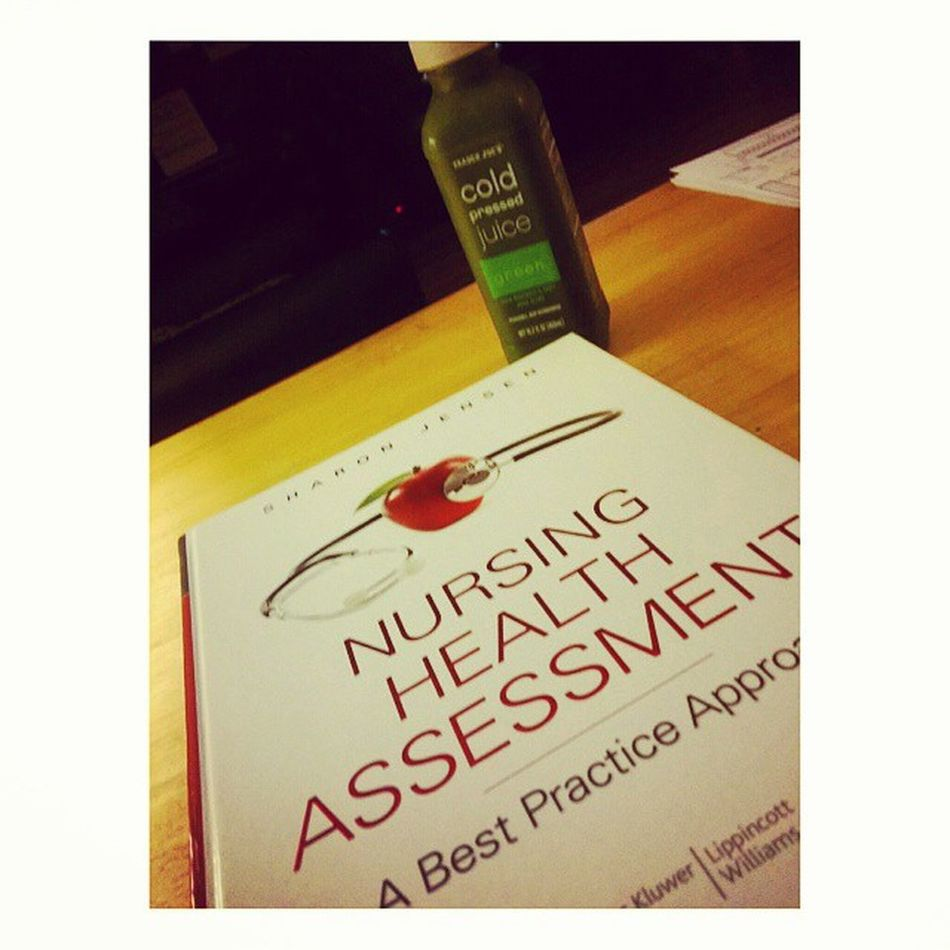 Just me. . Health assessment, cold pressed green juice && 6 more hours on the clock! 3rdshiftshawty Reading Healthassessment Nursingstudent NursingSchool Nursing coldpressed greenjuice yummy veggies chaptersonchapters startoutstrong