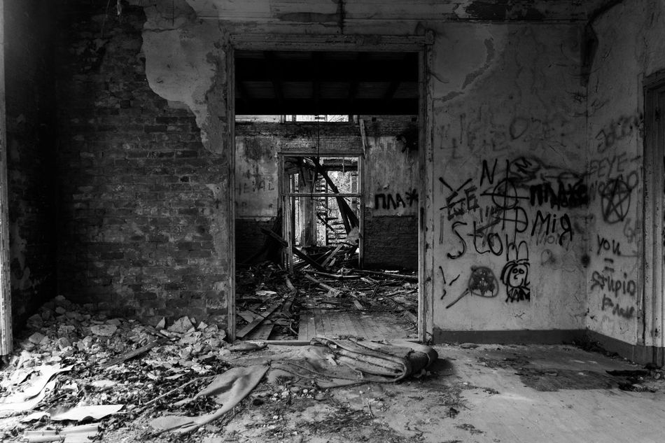 More decay... Abandoned Architecture Bad Condition Blackandwhite Built Structure Damaged Day Decay Fujifilm Graffiti Indoors  No People Obsolete Phoyography Trashed Urbex Weathered