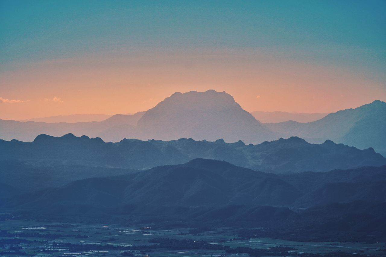 Mountain ranges sunset Mountain Beauty In Nature Nature Mountain Range Scenics Tranquility Idyllic Tranquil Scene Sunset No People Outdoors Sky Landscape Day