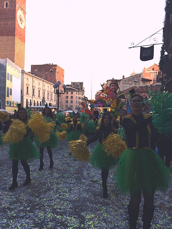 Colors Of Carnival Many People Amused People Acting Like Child Get Excited People Is Time To Party Green Yellow Magiorettes Cheerleading Pon Pon Girls Parade