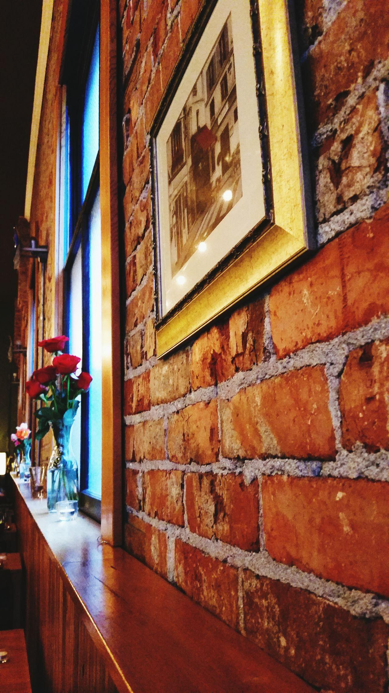 Roses on a rail Architecture Flower Roses Flowers  Restaurant Decor Restaurant Scene Bricks And Cement