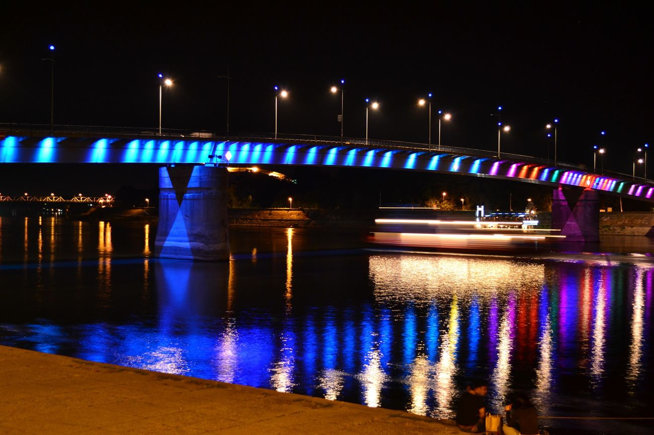 Night Lights Water Reflections Novi Sad