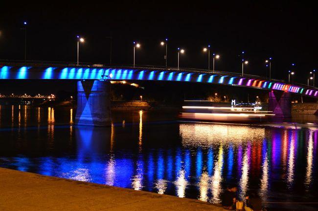 Night Lights Water Reflections Novi Sad