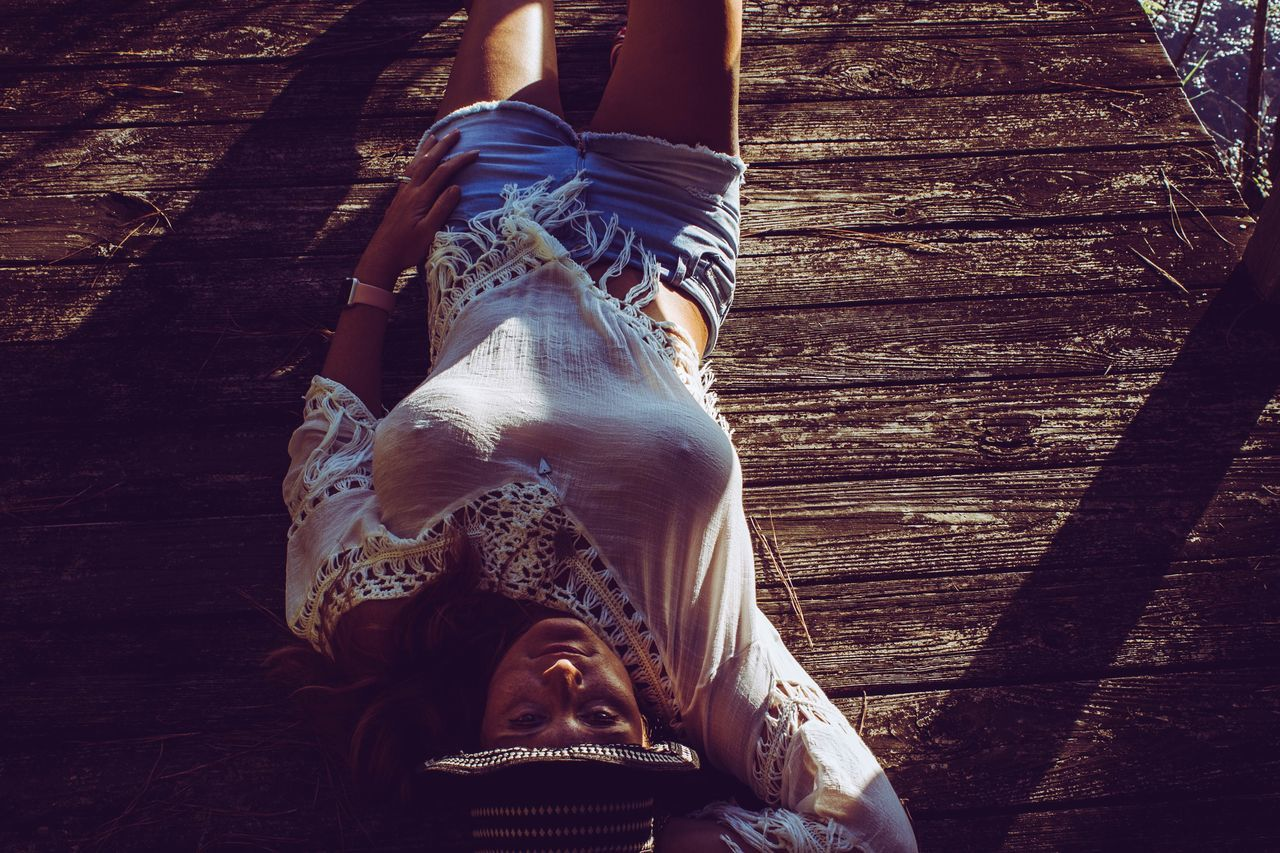 Close-up Day Outdoors Dock Woman Female Relaxing Fashion Laid Back Southern Life Risque