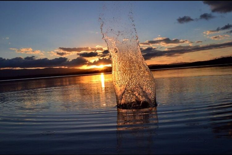 Magical scenic views Water Sunset Nature Beauty In Nature Scenics Waterfront Sky Outdoors Motion Reflection Dam Splashing The Great Outdoors - 2017 EyeEm Awards Sommergefühle