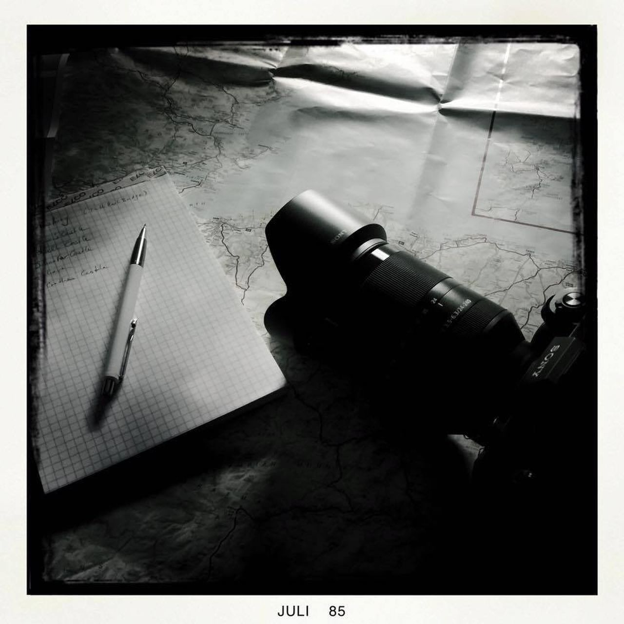 took this shot the other night while planing and organising my latest trip to Scotland Black And White Camera Close-up Indoors  Lens Map Pen Planing Shadow Table Working, Office , Life , Black And White