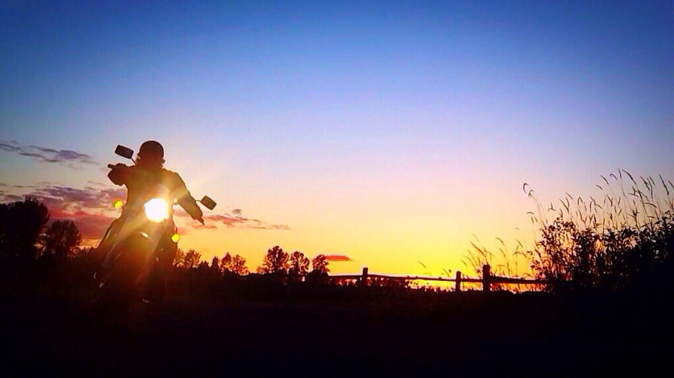 On my M50 cruiser, enjoying the view and ride at sunset. IPhoneography Nature Sunset Self Portrait