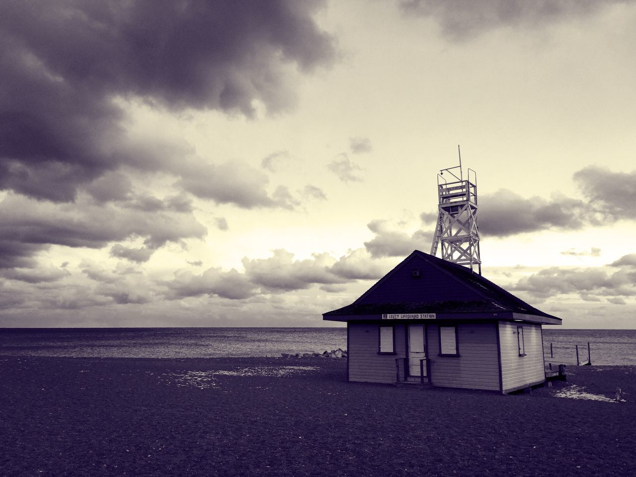 beach, sea, sky, sand, water, cloud - sky, outdoors, horizon over water, no people, built structure, day, nature, architecture