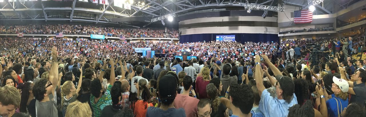 Stronger Together Obama Crowd Large Group Of People Audience Real People Lifestyles People Stage - Performance Space Performance Fan - Enthusiast Day Adult 2016 Elections Presidential Election 2016