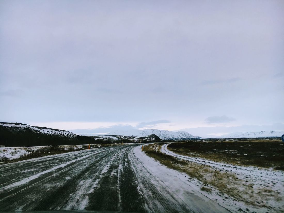 Beauty In Nature Cloud - Sky Cold Temperature Day Iceland Iceland Trip Landscape Nature No People Outdoors Road Scenics Sky Snow The Way Forward Tire Track Tranquil Scene Tranquility Transportation Winter First Eyeem Photo