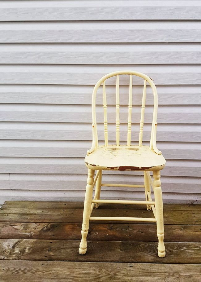 Inside Out... Interior Design meets Exterior Design Antique Kitchen Chair In My Garden Wood Floor Deck Siding Chair Pale Yellow Wood Chair Negative Space Lines Simple Things In Life Simplicity Minimal Pull Up A Chair Have A Seat Photographic Memory