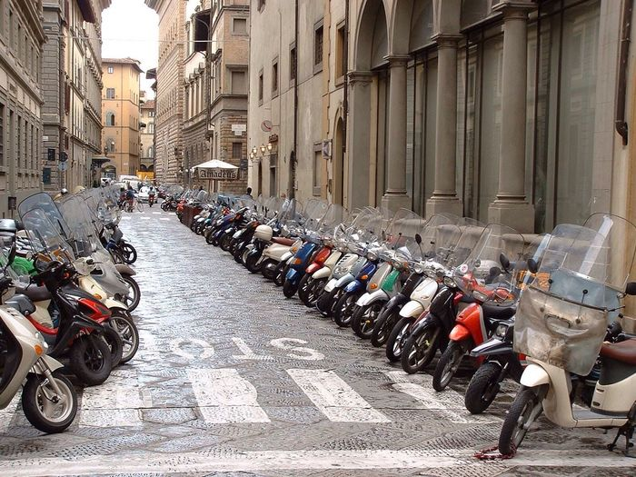 Scooters Florence Italy Street Scooters Mopeds Transport Parking