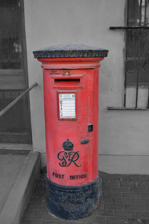 Architecture Black And White Blackandwhite British Postbox Building Exterior Built Structure Close-up Communication Correspondence Day Mail No People Outdoors Pay Phone Post Box  Public Mailbox Red Red Post Box Royal Mail Telephone Booth Text Western Script
