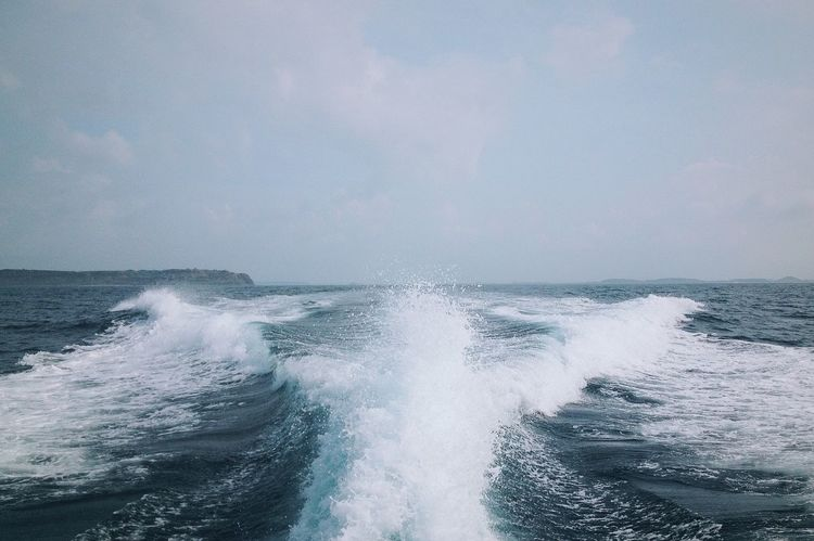 ocean Outdoors Day Beauty In Nature Nature Spraying Nautical Vessel Sea Water Motion Wave No People Sky Force Horizon Over Water Scenics Power In Nature Waterfront Crash