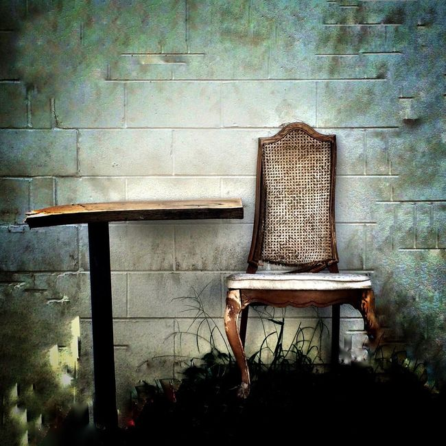Mobilephotography Table And Chair Abandoned No People Damaged Bad Condition Have A Seat