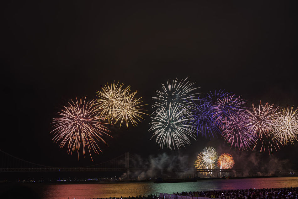 Fireworks over the ocean at night - part of the annual Busan Fireworks competition Bouquet Busan Colors Competition Competition Day Fireworks Multi Colored Night Ocean Pyrotechnics Reflection Reflections