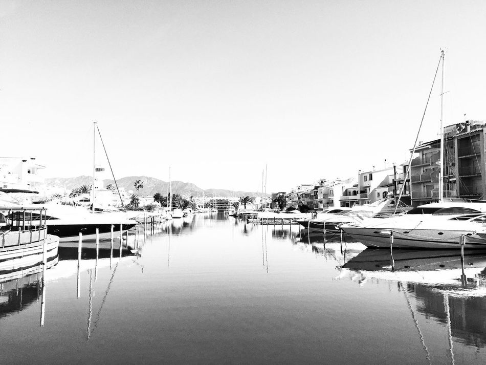 Bnw_friday_eyeemchallenge Bnw_reflection Outdoors Mode Of Transport Boat Water Marina Tranquility Bnw_collection