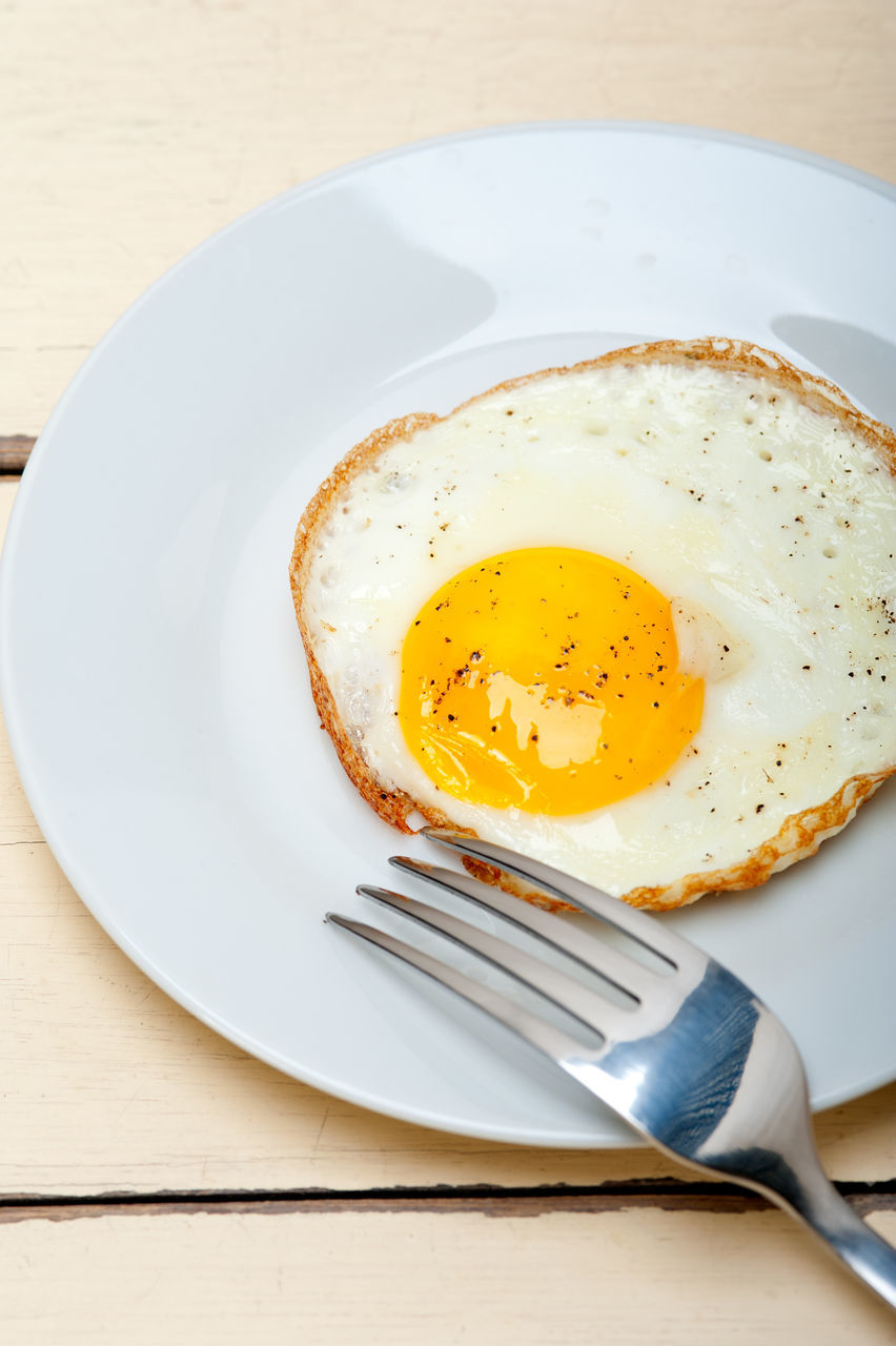 egg, food and drink, plate, fork, food, table, freshness, breakfast, no people, egg yolk, indoors, serving size, healthy eating, fried egg, ready-to-eat, close-up