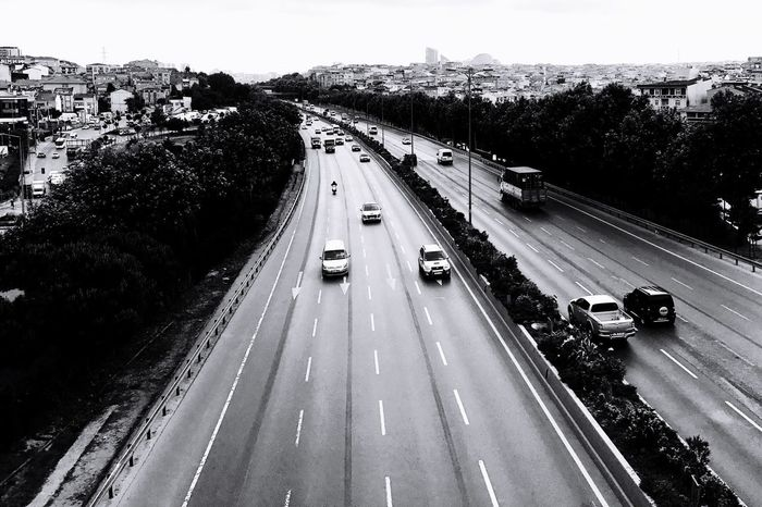 Transportation Road Car High Angle View Traffic Land Vehicle Mode Of Transport Street Outdoors Motion Day City No People Tree Beauty In Nature Sky Blackandwhite Black & White Mobilephotography Istanbul