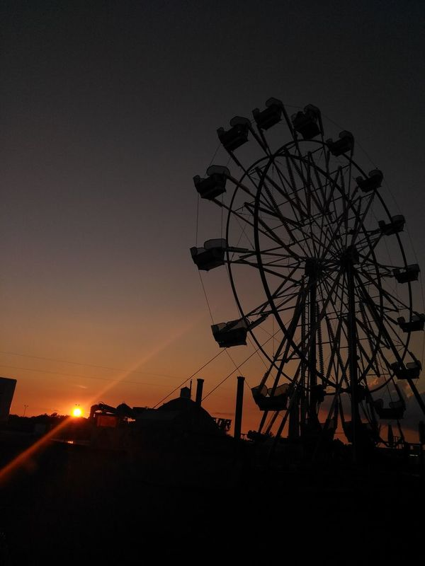 Ferris Wheel Sunset Sky Amusement Park Ride Amusement Park Night Silhouette Theplaceicallhome Summer Views Dramatic Sky Small Town USA Whyilovethesky Fairtime Funinasmalltown Midweststateofmind Middleofnowhere Fairground Ride Fairgrounds