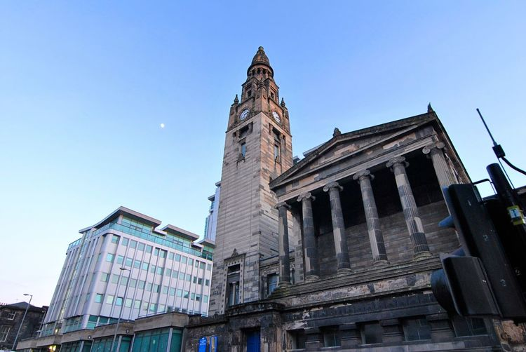 Alexander Greek Thomson Architecture Blue Building Exterior Built Structure City Clear Sky Clock Day History Low Angle View No People Outdoors Sky Skyscraper St Vincent St Free Church Travel Destinations