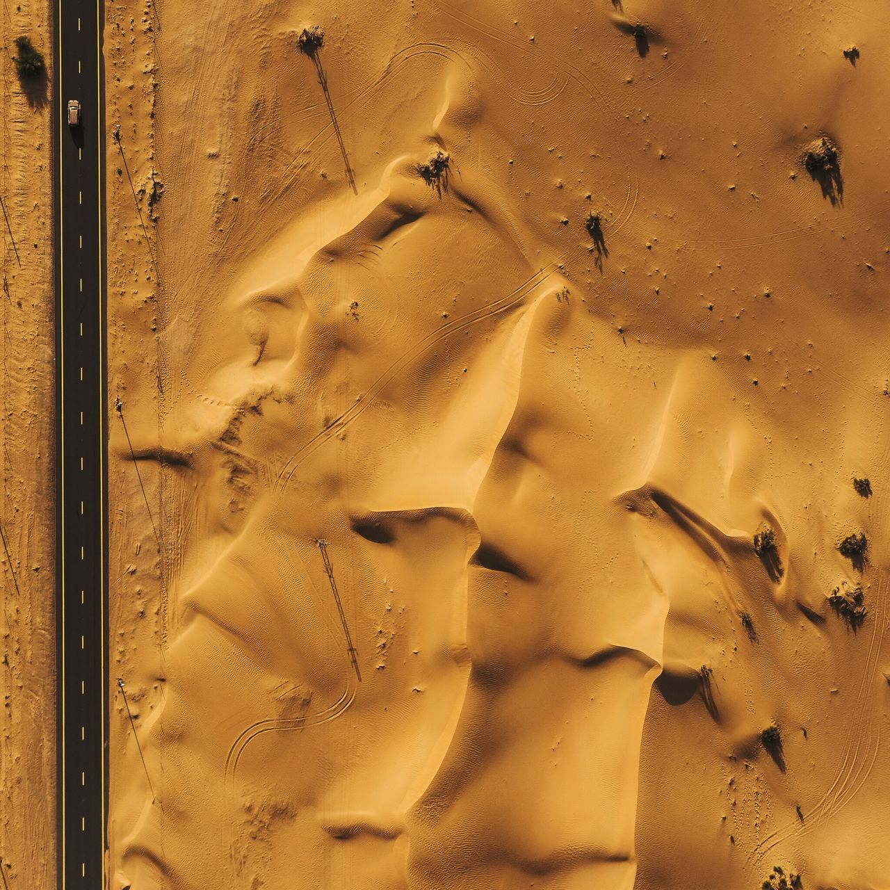Aerial View Of Road On Desert