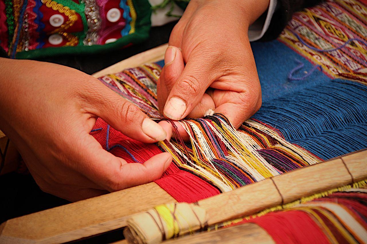 Alpaca Amazing Beautiful Colors Create Cusco Cusco, Peru Focus Hands Human Body Part Human Hand Inka Knitting Multi Colored One Person Peru Skill  South America Traditional Trip Weaving Women Wool Working Working Hands