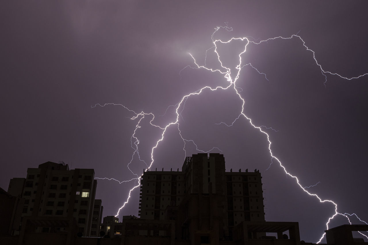 Lightning strikes during thunderstorm in New Delhi, India on April 5, 2017 Building Cloud - Sky Cloud Burst Cloudy Delhi Electric Charge Electricity  Forked Lightning India Lightning Nature Night No People Noida Outdoors Power In Nature Sky Storm Storm Cloud Thunder Thunderclouds Thunderstorm Weather