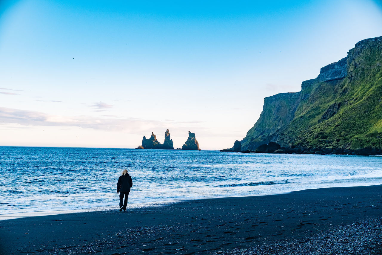 Iceland Vík í Mýrdal Beach Beauty In Nature Day Full Length Horizon Over Water Men Nature One Person Outdoors People Real People Sand Scenics Sea Sky Sunset Tranquil Scene Tranquility Water