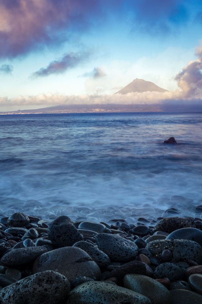 Mount Pico at Sunset, Azores Azores Beauty In Nature Cloud - Sky Faial Faial Island Horizon Over Water Nature Pico Rock - Object Scenics Sea Seascape Shore Sky Stone - Object Tranquil Scene Tranquility Water
