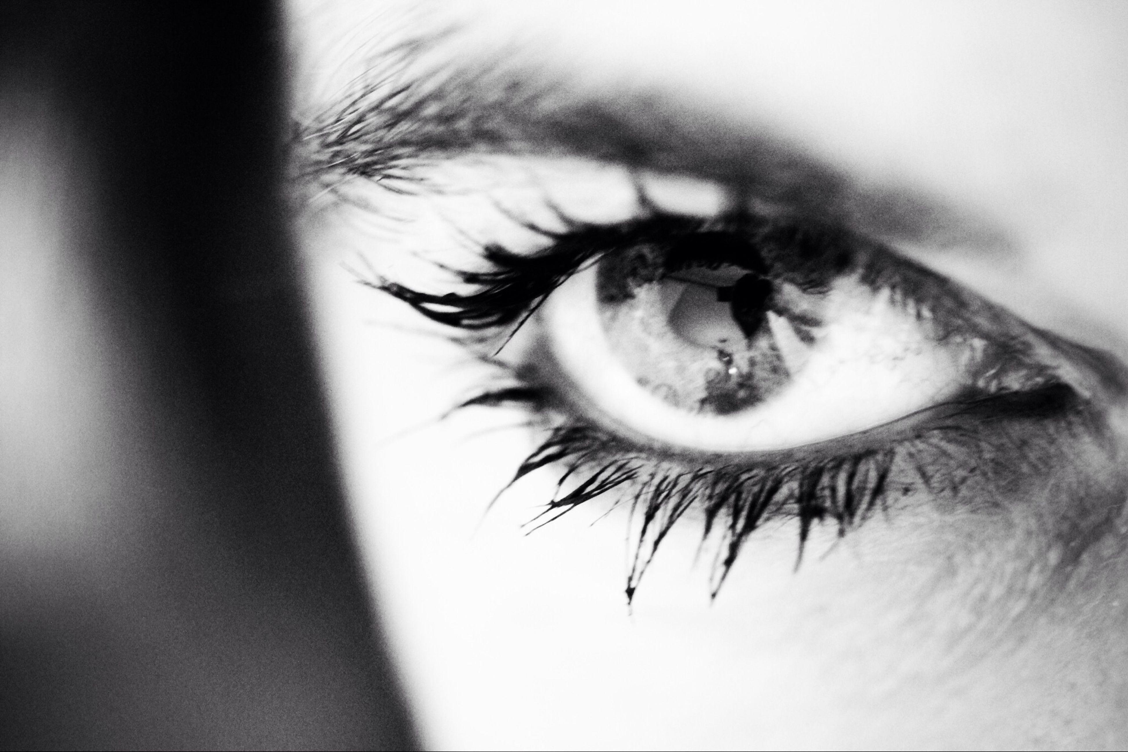 eyelash, human eye, close-up, eyesight, sensory perception, extreme close-up, part of, human skin, eyeball, indoors, unrecognizable person, looking at camera, selective focus, extreme close up, lifestyles, iris - eye, human face