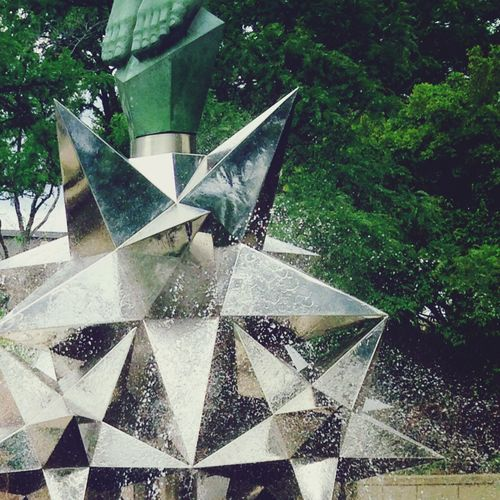Metal Sculpture Fountain Water No People Outdoors Close-up