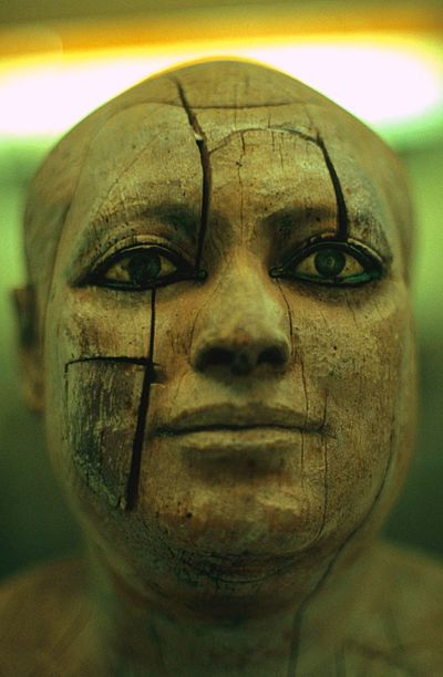 Egyptian Ancient Wooden Face Human Face Close-up Sculpture Statue Indoors  Human Body Part Day