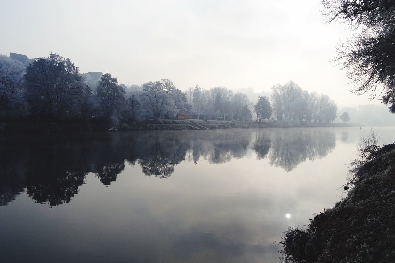 Tree Reflection Water Nature Lake Sky Beauty In Nature Outdoors Tranquility Tranquil Scene Fog Scenics No People Day Germany Snow Frost Sun Morning Light New Year White Frost River Forest