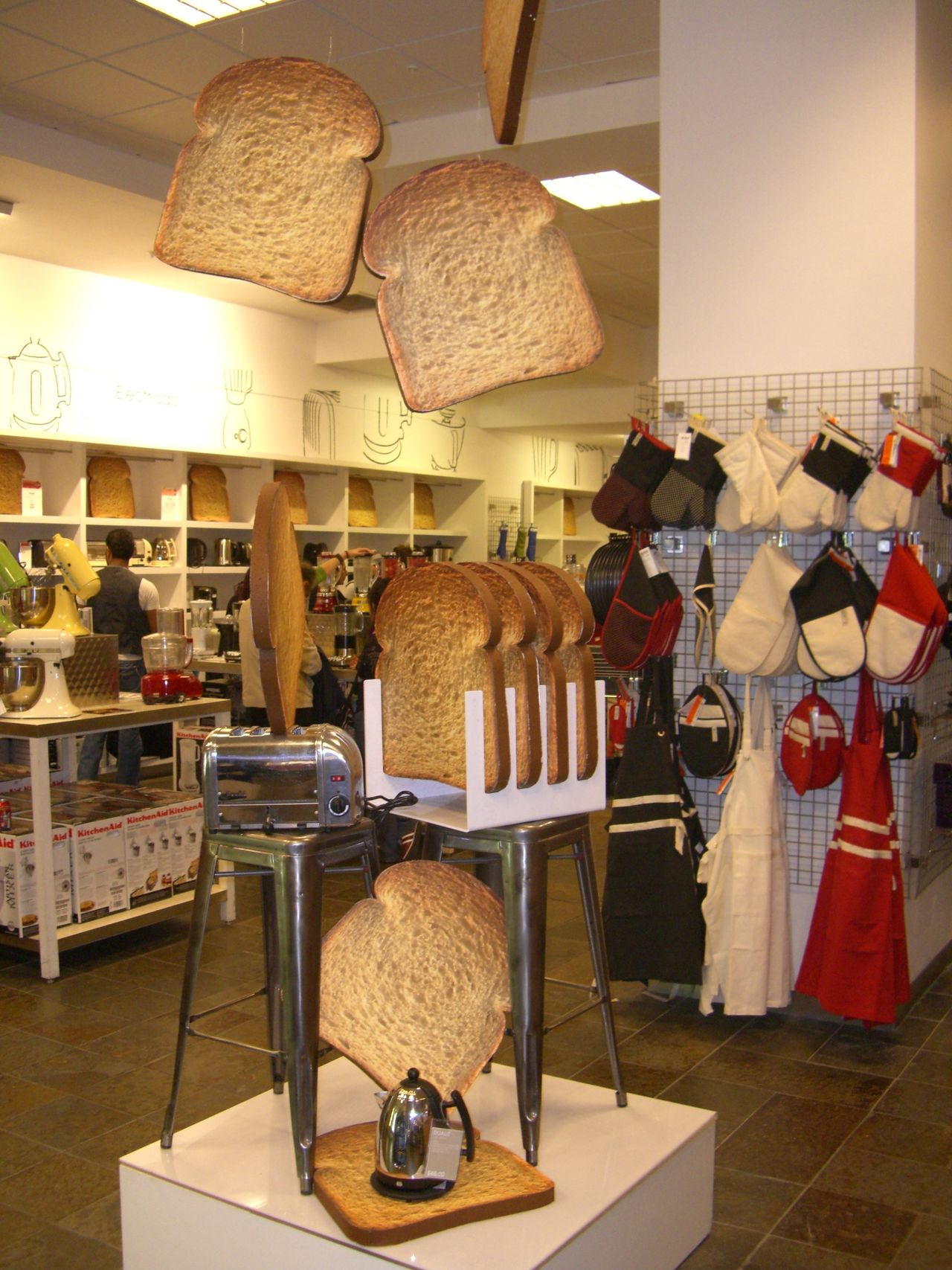 Toaster Display, Selfridges Composition Consumerism Display Famous Place Flying Things For Sale Full Frame GB Hanging Illuminated Indoor Photography London Luxury No People Oxford Street  Retail  Selfridges Store Toast Toasted Bread Toaster Tourist Attraction  Tourist Destination Uk Unusual Display